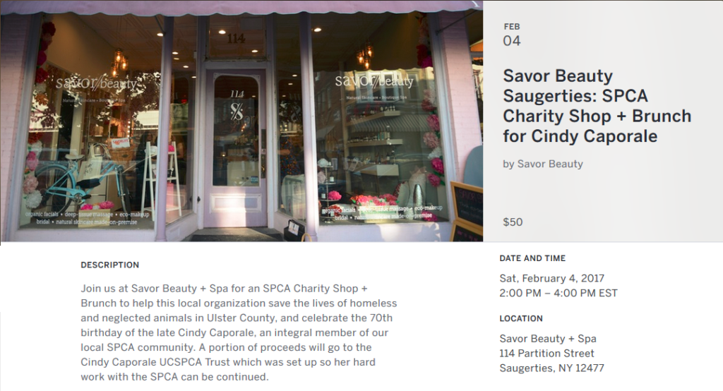 SPCA Charity Shop + Brunch for Cindy Caporale @ Savor Beauty/Spa | Saugerties | New York | United States